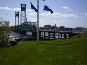 landscape irrigation in portsmouth nh with bridge to maine in view.