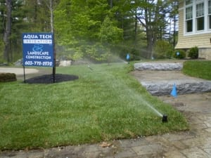 irrigation installation service in dover nh with our sign.